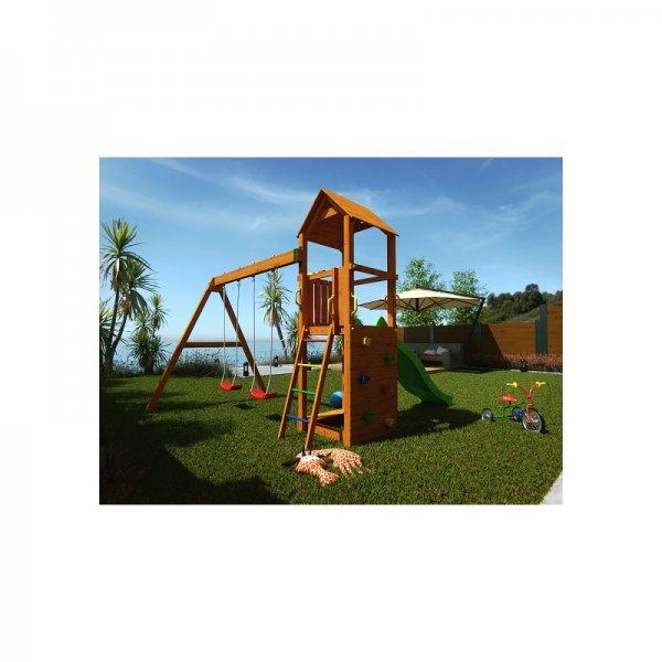 Детска площадка с пързалка и 2 люлки Flappi